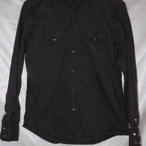 Mens ARIZONA Snap Button up shirt - BLACK - Sz S